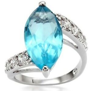 Silver Blue Topaz Art Deco Cocktail Ring Size 9